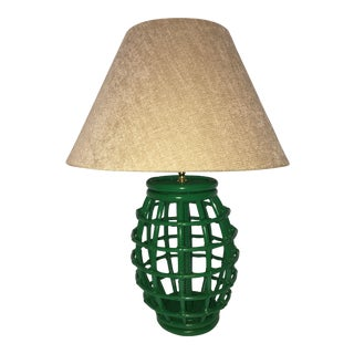 Vintage Rattan Green Table Lamp