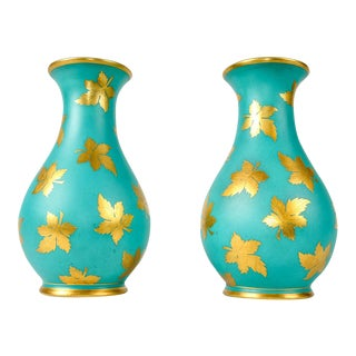 English Turquoise Porcelain Vases - A Pair