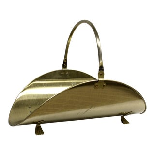 Vintage Burnished Brass Firewood Holder