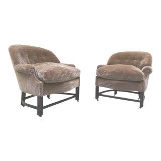 Midcentury Mohair Barrel Club Chairs