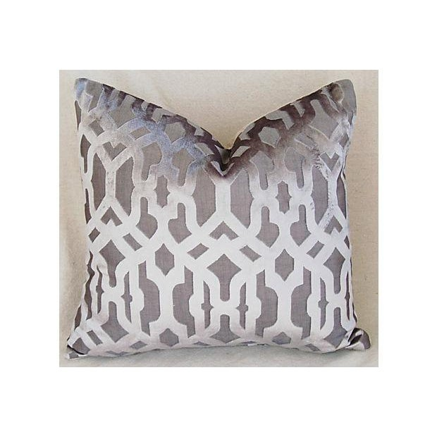 Designer Gray Geometric Trellis Pillows - A Pair - Image 6 of 8