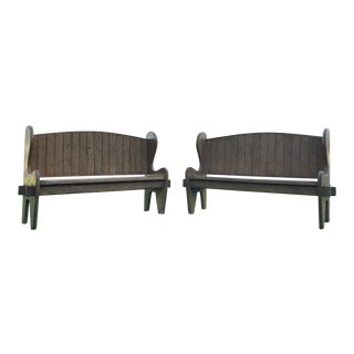 A Pair of Oak Wood Benches