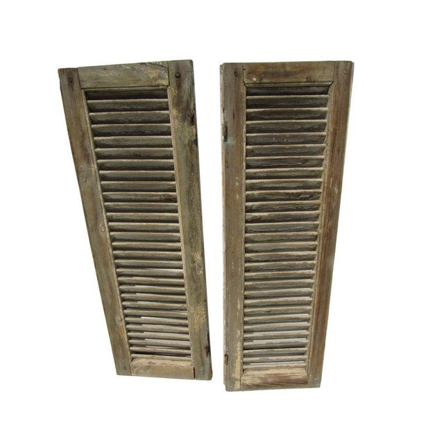 Rustic White European Louvered Shutters - A Pair - Image 3 of 5