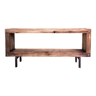 Vintage Brutalist Reclaimed Wood TV Media Console