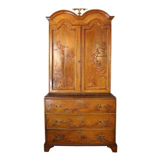 English Chinoiserie Bureau Bookcase