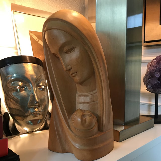 Image of Modern Art Deco Olivewood Mother &Child Bust