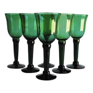 Vintage Emerald Green Wine Glasses - Set of 6