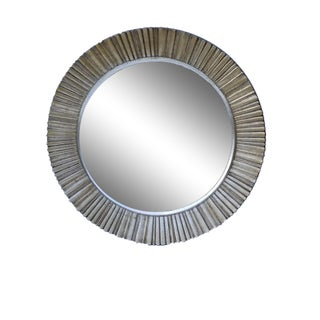 Vintage Antique Silver Finish Wood Stardust Style Fluted Round Mirror