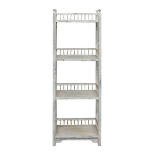 Chinese Distressed Off White Simple Slim Display Bookcase Cabinet