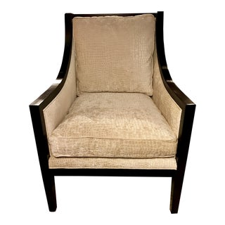 Contemporary Cream Upholstered Wood Framed Armchair