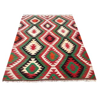 Vintage Turkish Kilim Rug - 5′5″ × 7′2″