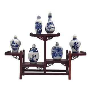 Antique Chinese Porcelain Bottles & Stand - Set of 6