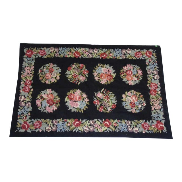 Image of Floral Aubusson French Style Rug - 3′8″ × 5′8″