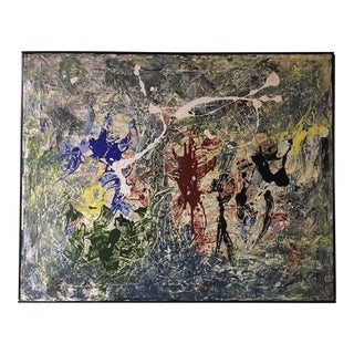 Vintage Mid-Century Modern Abstract Expressionist Oil Painting Splatter Pollock
