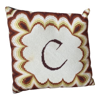 Vintage Monogram Needlepoint Pillow