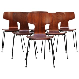 Set of Six Arne Jacobsen for Fritz Hansen Teak Stacking Chairs #3103