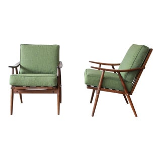 Pair of Mid-Century Modern Walnut Lounge Chairs by Ligna, Circa 1950