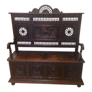 Antique Hand Carved European Entry Bench