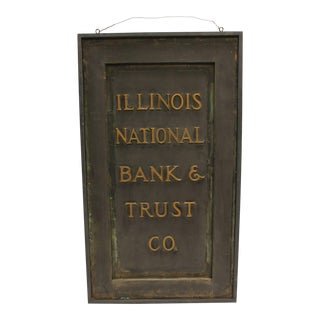 "Antique Brass Sign, ""Illinois National Bank & Trust Co."""