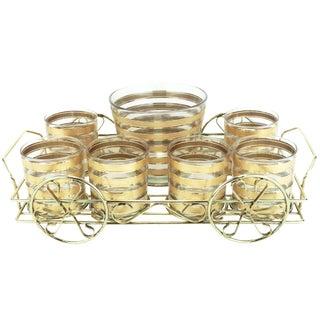 9-Piece Culver 22k Gold Stripe Cocktail Set