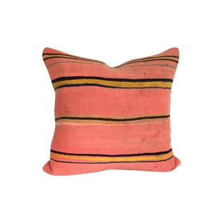 Vintage Coral Striped Flatweave Moroccan Pillow