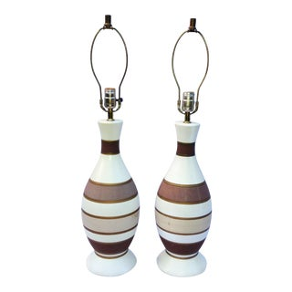 Mid-Century Striped Terra Cotta Lamps - A Pair