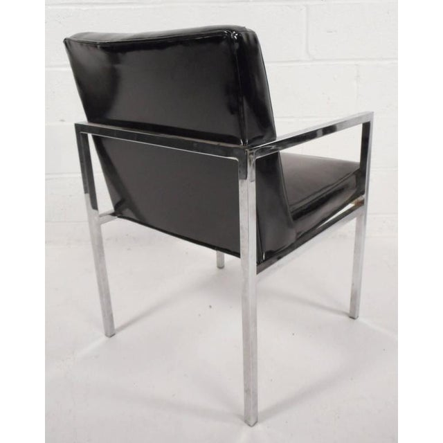 Mid-Century Modern Vinyl and Chrome Dining Chairs - Set of 4 - Image 5 of 8