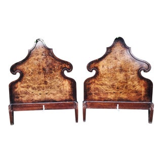 Depression Era Burled Walnut Twin Beds - A Pair