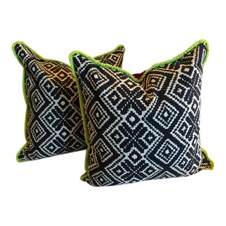 Black & White Geometric Pillows, Wool Backs - Pair