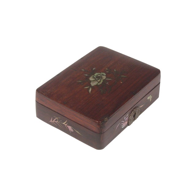 Small Chinese Rosewood Inlay Box - Image 1 of 3