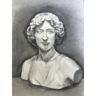 Classical Charcoal Drawing of Female Bust