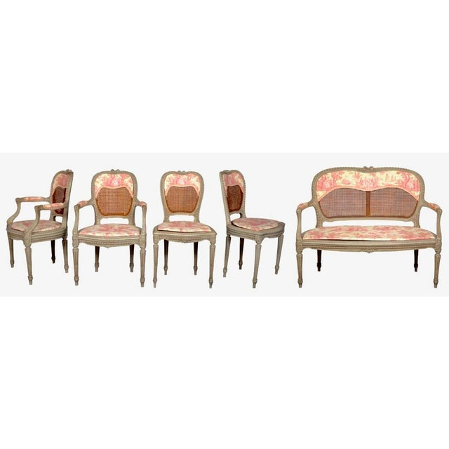 19th Century Louis XV French Caned Salon Collection - Set of 5 - Image 2 of 6