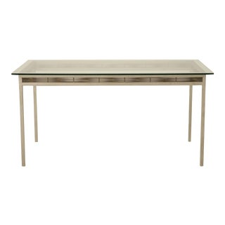 Stainless Steel and Glass Indoor or Outdoor Dining Table