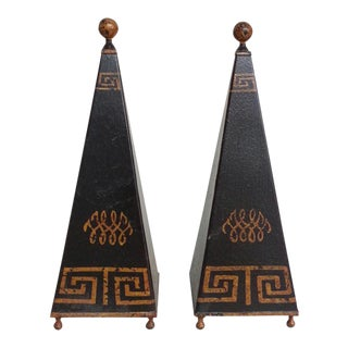 Greek Key Design Obelisks - A Pair
