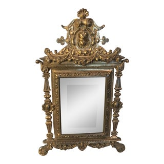 Antique Art Nouveau Victorian Brass Vanity Mirror
