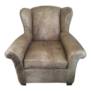 Mitchell Gold Distressed Leather Wingback Armchair