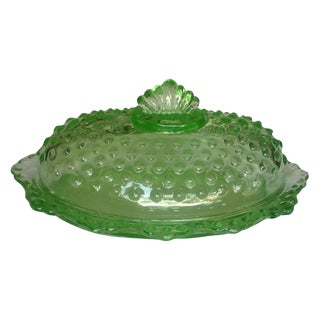 Vintage Fenton Green Glass Hobnail Butter Dish