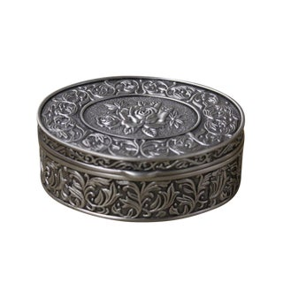 Pewter Oval Floral Jewelry Box
