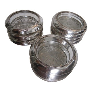 50's Silver Wine Coasters - Set of 9