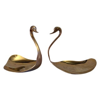 Vintage Art Deco Brass Swan Shallow Dishes -  Pair