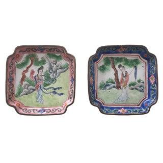 Vintage Asian Cloisonne Enameled Plates - A Pair