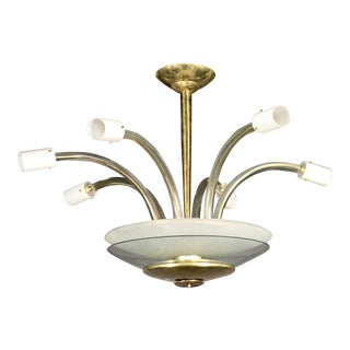 Monumental Six-Arm Italian Fixture in the Style of Barovier and Toso