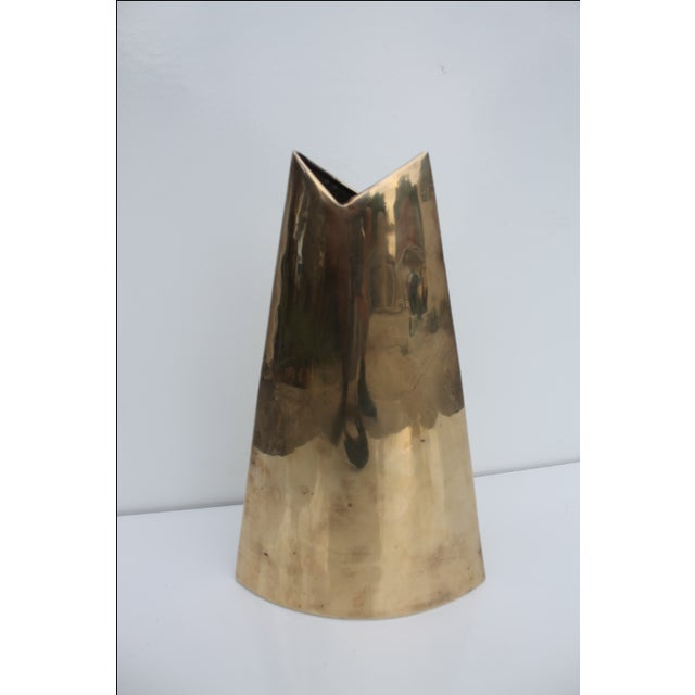 Geometric Brass Vase by J. Johnston - Image 2 of 7