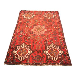"Vintage Persian Shiraz Small Area Rug - 3'5""x4'11"""
