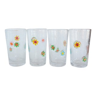 Bubbled Glass Daisy Flowered Drinking Glasses - Set of 4