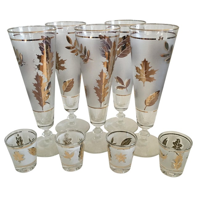 Libbey Starlyte Gold Leaf Glasses - Set of 9 - Image 1 of 7