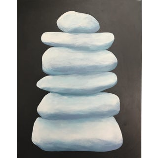 Pale Cairn on Charcoal Gray Painting