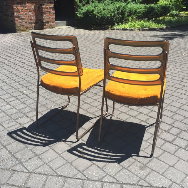 Mid-Century Chrome Craft Amber Lucite & Orange Chairs - A Pair - Image 5 of 10