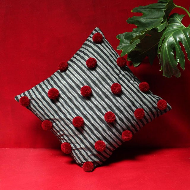 Black Lurik Pillow with Cranberry Red Pom-poms Tassels - Image 2 of 6