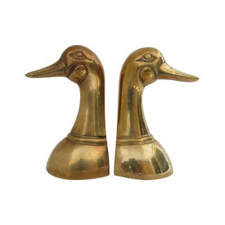 Brass Mallard Bookends - A Pair